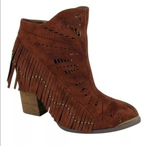 Not Rated Perforated Fierce Fringe Bootie Boots